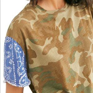 Free People Clarity Tee Army Camo Short Sleeve XS